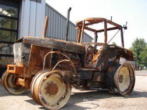 Burned traktor